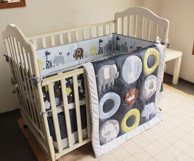 Promotion! 7PCS embroidered Baby cradle crib cot bedding set kit berco cunas crib set,include(bumper+duvet+bed cover+bed skirt)