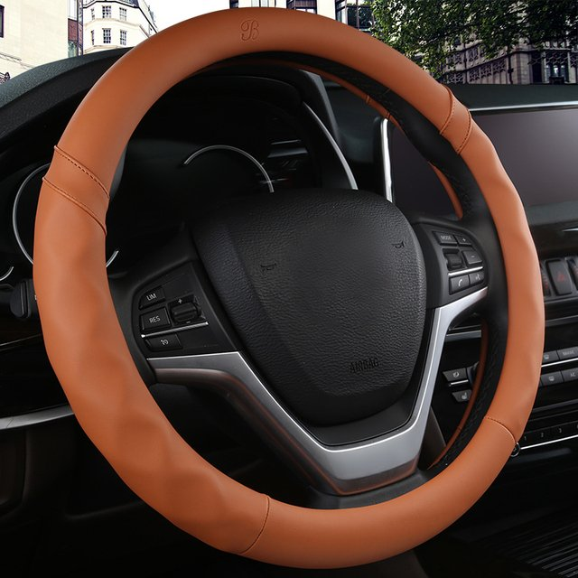 KKYSYELVA Car Sport Steering Wheel Cover Leather Auto Steering Covers Universal 38CM wheel covers Car Inter Accessories