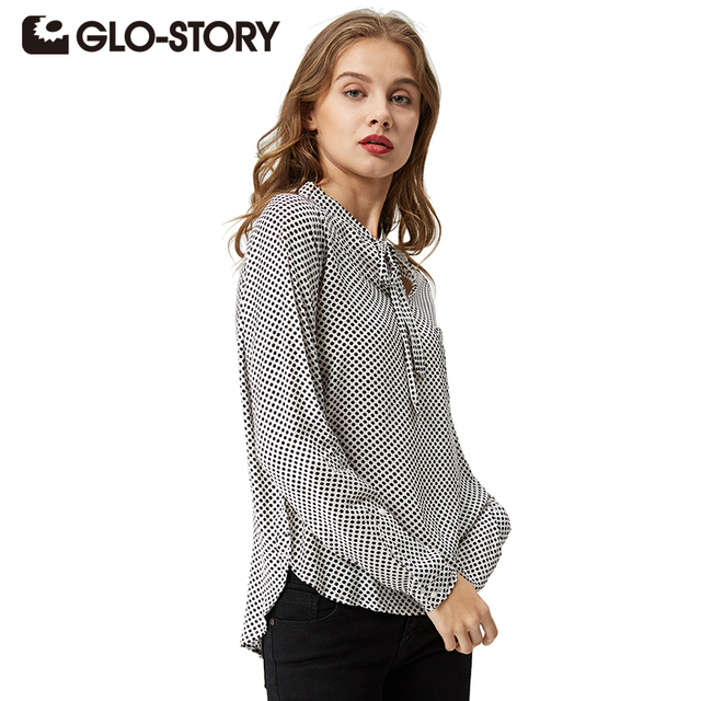 GLO-STORY 2018 Casual Long Sleeve Shirt Women Plus Size Bow Polka Dot Autumn Chiffon Blusas Feminina 3003