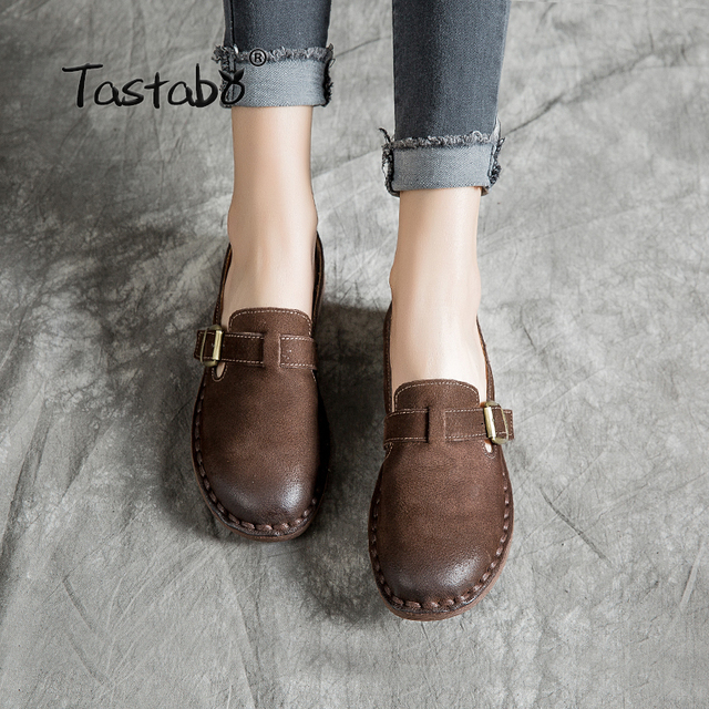 Tastabo Handmade leather women's shoes Solid color flats Simple buckle inlay Wild fashion women's shoes Comfortable walking