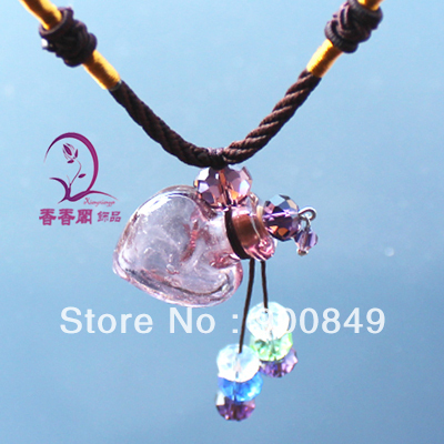 2PCS Murano Glass Perfume Necklace Heart (with cord), Aromatherapy Necklace, Scent necklaces, Perfume jewelry vial