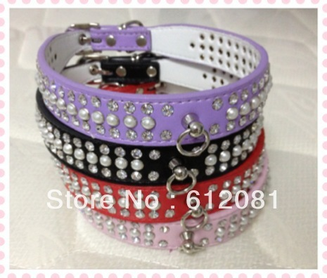 Free shipping dog collar,luxry rhinestone,pearl,four colors(pink,purple,black,red)mixed colors