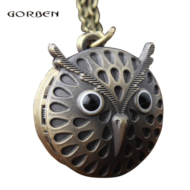 Fashion New Bronze Cute Owl Quartz Pocket Watch Necklace Pendant Men Women Kids Watch Gift
