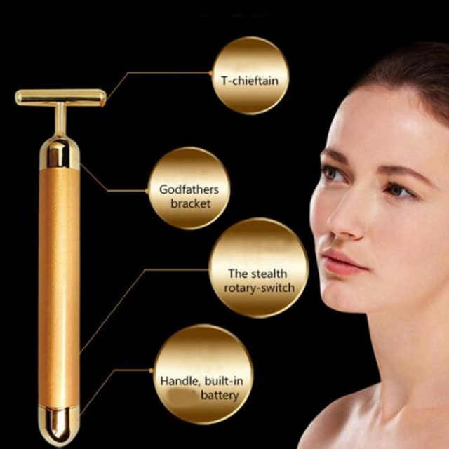 Face Gold Vibration Facial Beauty Roller Massager Stick Lift Skin Tightening Wrinkle Stick Bar Face Skin Care Tools