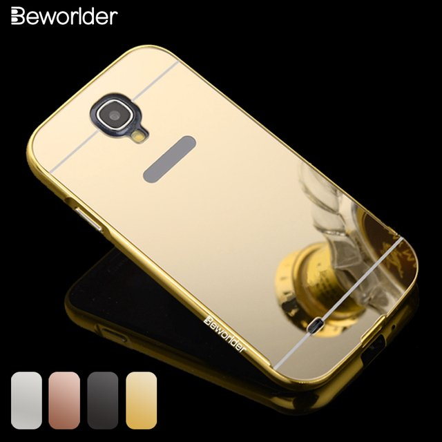 Beworlder For Samsung S4 Case Gold Color Matel Frame Mirror Back Plate Case New Brand Phone Cover For Samsung Galaxy S4 i9500