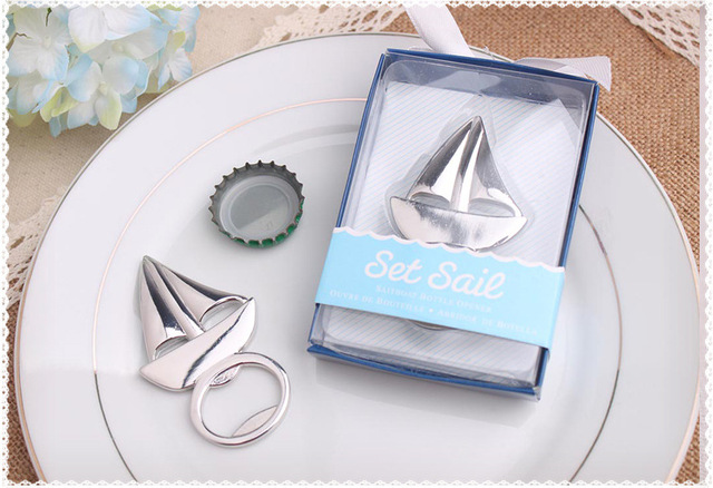 100pcs/lot Wedding favor Beach favor Set Sail Sailboat Bottle Opener Wine Opener Wedding Party Gifts Free shipping