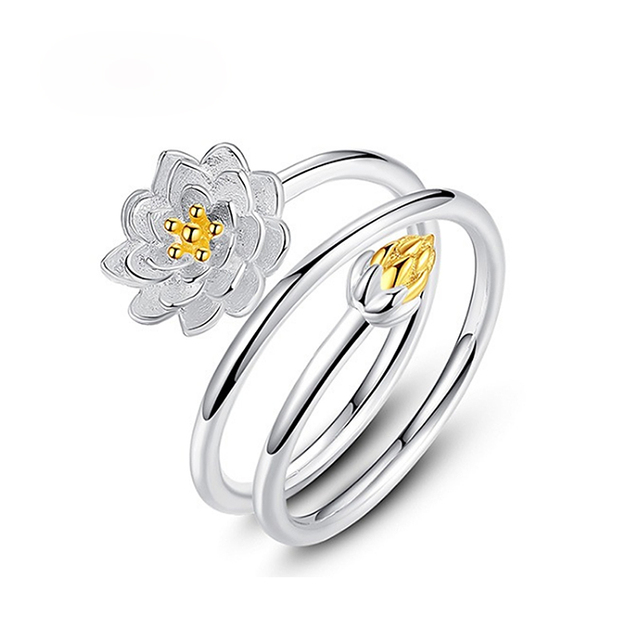 Simple Lotus Ring For Woman Jewelry Fashion Personality Female Flower Rings Open Design Adjustable Wedding Accsessories