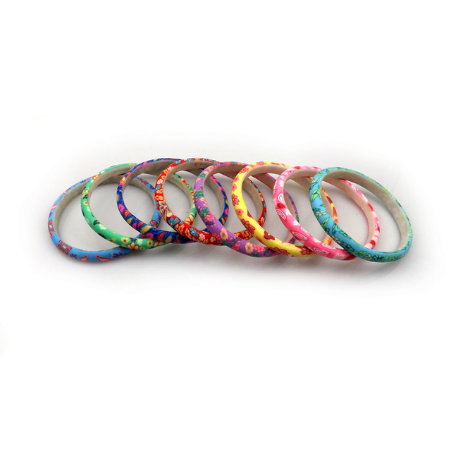 Printed Polymer Clay Bangles Free Shipping, Wholesale 24pcs Fashion Flower Bangles For Kids