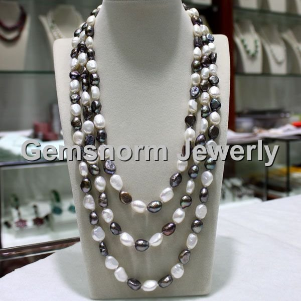 Charms Freshwater White Pearls Necklace 3 rows Big Pearls Wedding Necklace FP189