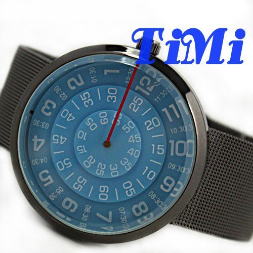 fashion Mens Women Bule Special Rotary Dial Quartz Watch Steel