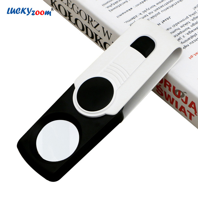 Luckyzoom 8X Foldable Pocket Magnifying Glass LED Illuminated Loupe Magnifier Rotatable Handheld Jewelry Loupe Repair Read Lupa