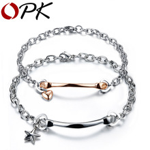 OPK Heart Star Lovers' Bracelets Romantic Silver/Rose Gold Color Stainless Steel Link Chain Hot Fashion Women Men Jewelry GS775
