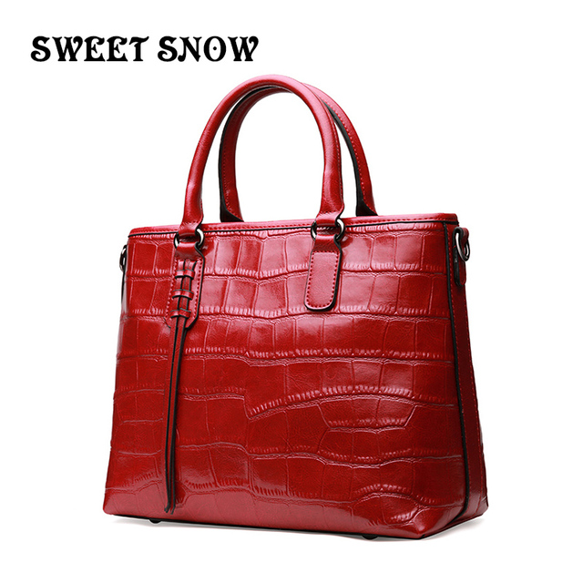 [Sweet Snow] Newest handbag Genuine Leather Lady bags Bucket package Vintage Shoulder Bags Crocodile Grain women's Messenger Bag