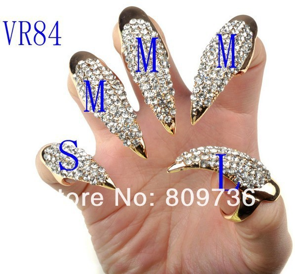 Chic Cat Woman Long Claw Ring Golden Full rhinestone Nail Ring 3 size crystal Finger Tip 5pcs/lot Drop Free