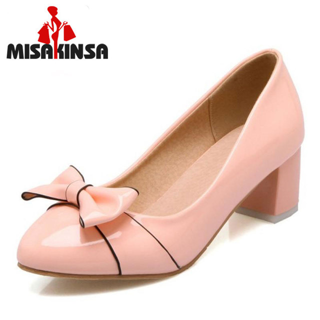 FITWEE High Heels Shoes Women Pumps Patent Leather Round Toe Thick Heels Bowknot High Quality Shoes Sweet Footwear Size 31-45