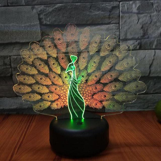 Peacock Open Screen 3d Visual Night Desk Lamp Light Creative Seven Color Touch Charging Led Birthday Gift Table Lamp For Bedroom