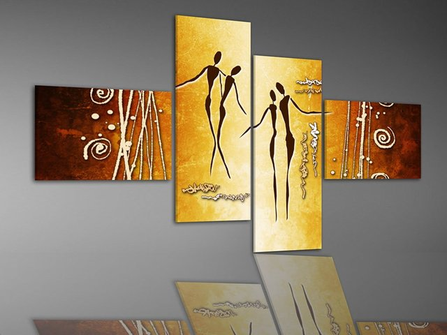 handpainted oil painting  oil wall art Golden couple shopping home decoration abstract picture  Landscape  4pcs/set frame