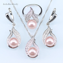 Fashion Imitation Pearl Jewelry Sets Hollow Out Water Drop Necklace EarringYEGD