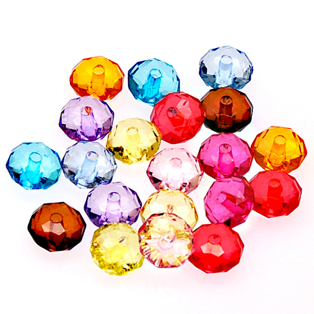 High Quality Acrylic Beads 5x8mm Transparent Faceted Rondelle Beads Mixed Color Acrylic Transparent Rondelle For Jewelry Making