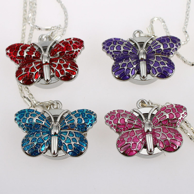 Wholesale Price Bulk 10pcs / Lot Cute Butterfly Girl Ladies Necklace Pendant Pocket Watch Chain Battery Included Gift GL36T