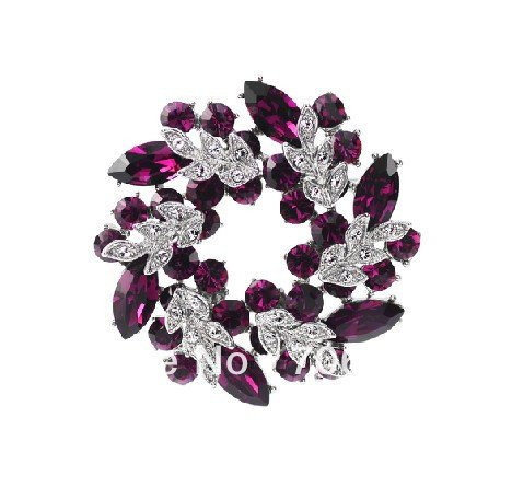 Silver Plated Purple Rhinestone Crystal Floral and Wreath Pin Brooch