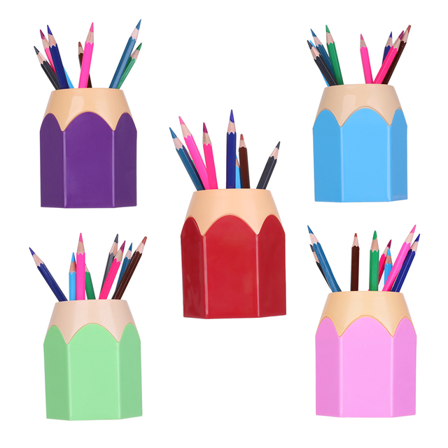 1pc New Mini Pencil Pot Holder Pen Storage Vase Stationery Gift Cup Makeup Brush Container Box Desk Organizer