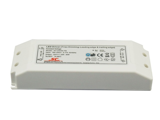 5pcs/lot  DC12V 24V 30W  LED TRIAC Dimming Driver Constant Voltage Dimmable power supply use for LED Lighting tranformers