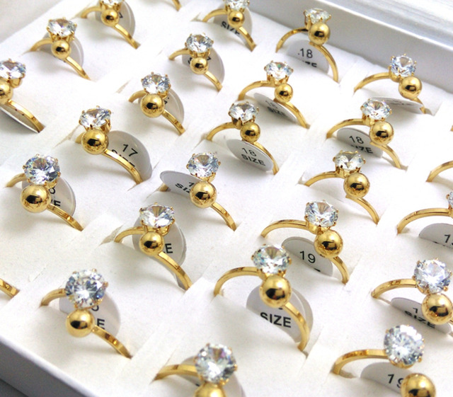 30pcs Women's Gold Engagement Zircon Rings Lady Wedding CZ Party Rings Girls Beautiful Finger Rings Wholesale Fashion Jewelry