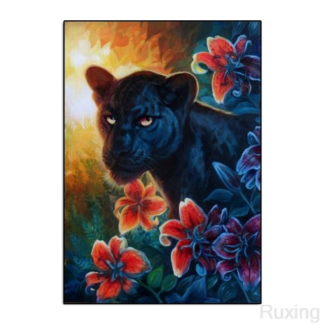 """Black Panther and Flower""Oil Painting Diamond Painting 5D DIY Full Dril Diamond Mosaic Wall decoration personality picture gift"
