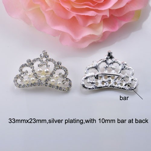 (J0305) 33mmx23mm,metal rhinestone buckle,crown shape,silver color,with bar at back