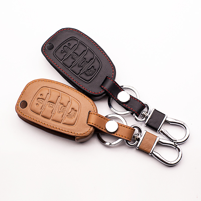 High quali Car Leather 4 key for Hyundai IX35 IX25 I10 I20 Sotaque Elantra IX35 IX45 leather car remote key  case protect shell