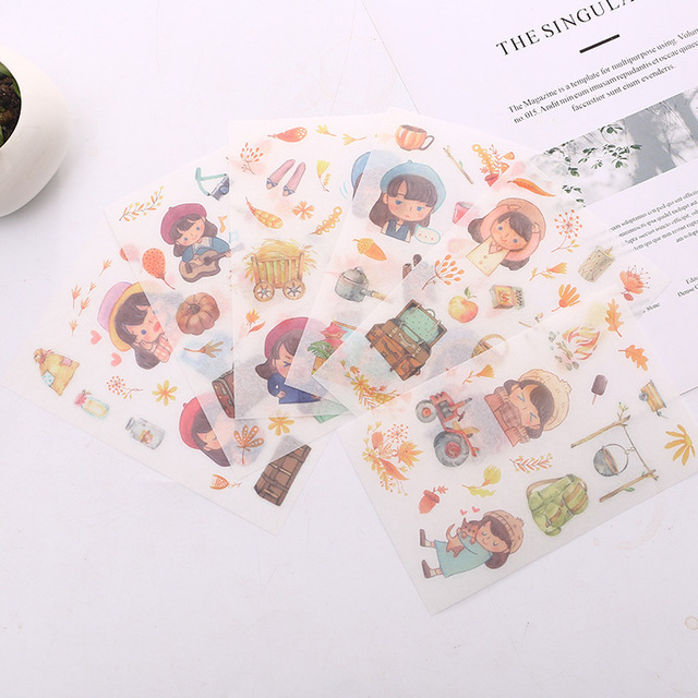 6 pcs/pack Cartoon Walking Ginkgo Decorative Stickers Adhesive Stickers DIY Decoration Diary Stationery Stickers Children Gift
