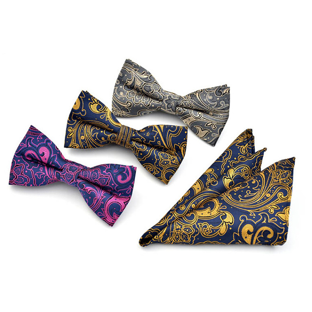 Fashion New Paisley Floral Pattrn Bow Tie Hanky Set For Men Wedding Grooms Jacquard Butterfly Bowtie Pocket Square Set Neakwear