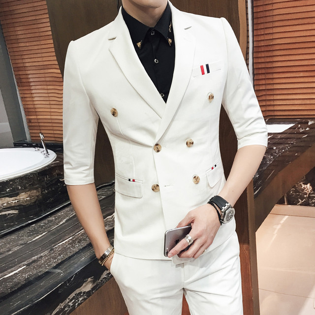 Costume Homme Mariage 2019 Blue Double Breasted Suits White Mens Wedding Suits Purple Suits Short Men Terno Slim Fit Khaki Red
