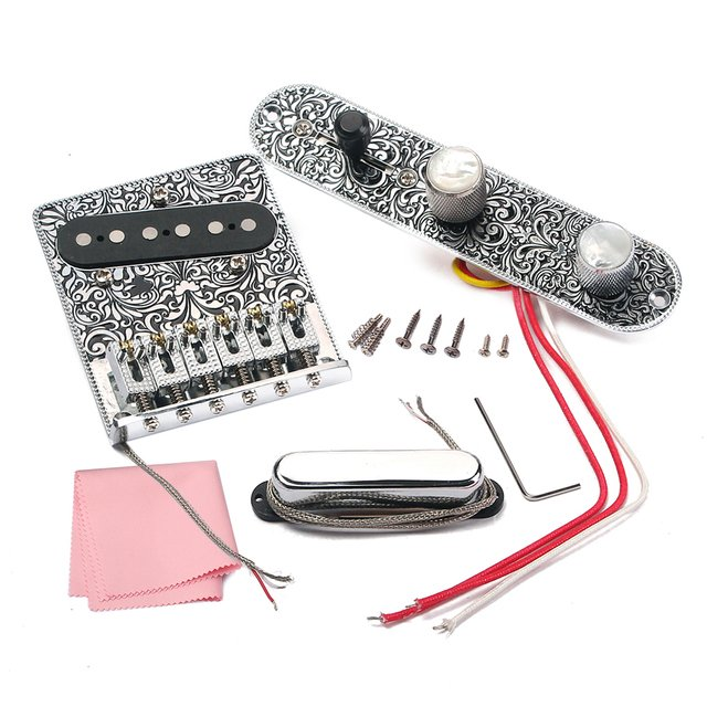 High-quality Electric Guitar 6 Saddle String Bridge Pickup Set with 3 Way Switch Control Plate Beautiful Decorative Pattern