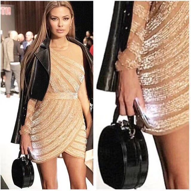 Beige Beading One-Shoulder Summer Women Long Sleeve Bandage Dress 2018 Sexy Bodycon Party celebrity club Dress