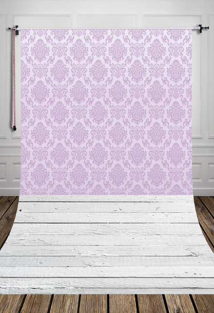 HUAYI Purple Wallpaper Damask Backdrop With Gray Vintage Wood Floor Art Fabric Newborn Backdrop D-7990