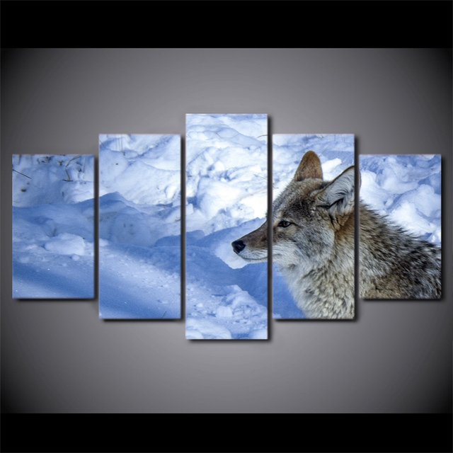 5 Pcs Wolf in The Snow Mountain Canvas HD Printed Poster Frame Painting Wall Art Pictures Living Room Quadri Da Parete Moderni
