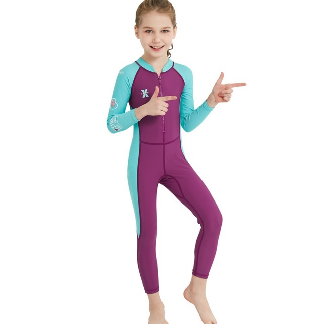 1 Piece Kids Wetsuit Children Long Sleeves Cotton Spandex Diving Suit Siamese Quick Anti-UV Anti-jelly fish Swimming Suit