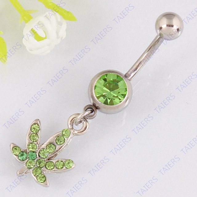 Maple belly button ring fashion body piercing woman jewelry belly bar navel ring 14G 316L surgical steel bar Free shipping