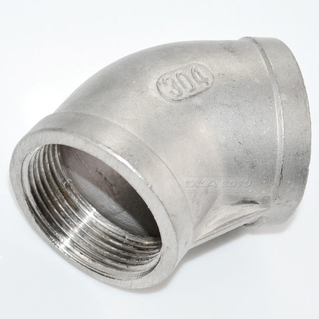"""MEGAIRON BSPT 2"""" DN50 Thread Female Stainless Steel SS304 45 Degree Elbow Max 150 psi Pipe Elbow Fittings For Water Gas Oil"""
