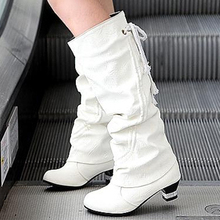 Free shipping high boots solid color low heel PU surface. Ms. snow boots black, yellow, white, 34 \ 35 \ 36 \ 37 \ 38 \ 39 yards