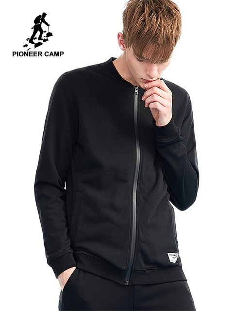 Pioneer camp new spring jackets coat for men brand clothing solid quality bomber jacket men quality outerwear black AJK802196