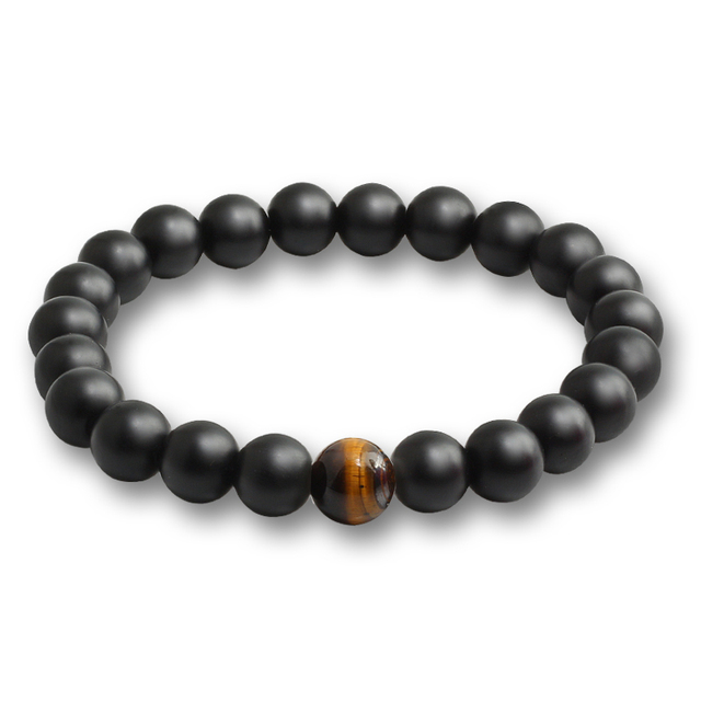 Classic Black Matte Natural Stone Bracelet Charm Crystal Onyx Handmade Beads Bracelets for Men Women Casual Jewelry Friends Gift