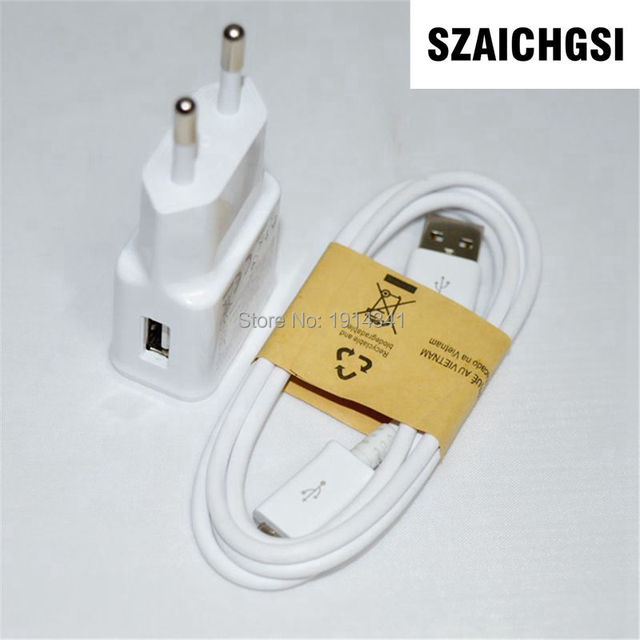 SZAICHGSI 2A EU US Plug Wall Charger Adapter+1M Micro USB Charger Cable For Samsung Galaxy S3 I9300 S4 I9500 Note2 100pcs/lot