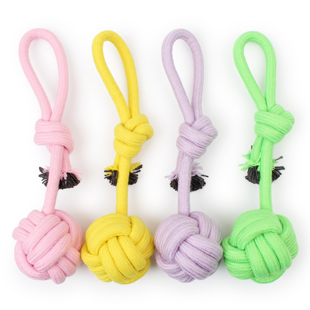 Hot sales Cotton rope hand pull long tail ball toy Pet toys large-sized 32 cm Dog Toys Cleaning Rope Toy Free Shipping