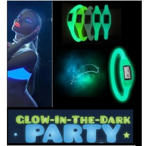 10 pcs Silicone ION Sport WATCH GLOW in the Dark Girl Women Ladies Fashion Silicon Jelly Rubber glowing colors party LOT