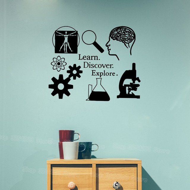 Learn Discover Explore Wall Stickers Science Decal Learning I love Science Classroom Decor Scientist Decals for Teacher S444