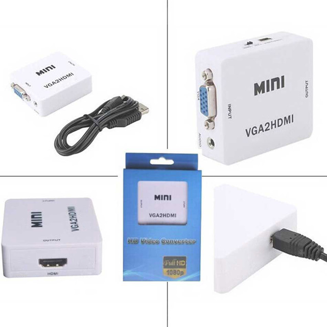 New wholesale 1PCS mini VGA to HDMI converter with audio for PC laptop to HDTV Projector in retail package VGA to HDMI converter