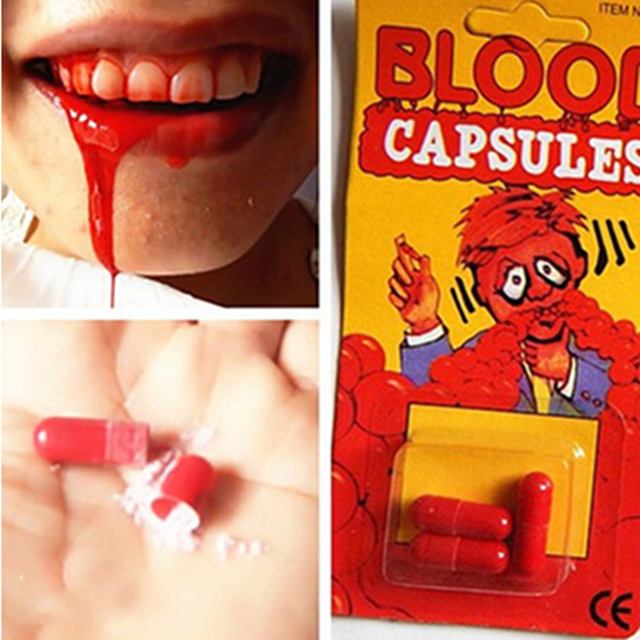 Fake Funny  Blood Pill Trick Toys Whimsy Prop Vomiting Blood Capsule April Fool's Day Halloween Makeup Cosplay  Joke Toys
